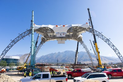 EECO, formerly known as The Claw, was lifted into place as a permanent installation Tuesday at Loveland Living Planet Aquarium in Draper, UT. The structure was formerly used as U2's stage for their 360° World Tour.