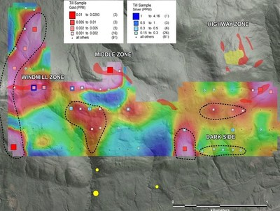 Map showing colour gridded gold assay data from the recently completed till sample program at Shot Rock overlaid with gold and silver assays from same survey. Red shaded polygons highlight the current areas of outcropping gold mineralization. Black dashed regions represent areas with gold-in-till anomalies for which a bedrock source has not been clearly defined and will be followed up with further prospecting. (CNW Group/Northern Shield Resources Inc.)
