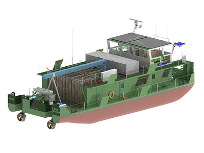 Artist rendering of the Elektra zero-emission push boat (CNW Group/Ballard Power Systems Inc.)