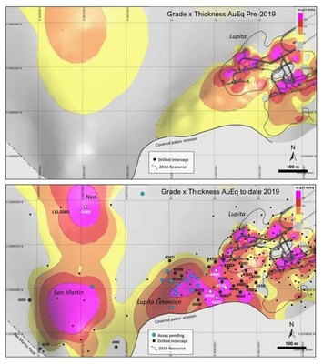 Figure 1 – Grade x Thickness Map of Lupita Area (CNW Group/Premier Gold Mines Limited)