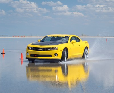 A Camaro in Goodyear's test fleet goes through the paces at the company's Vehicle Dynamics Area at its San Angelo, Texas Proving Grounds.