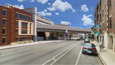 Rendering of the Red-Purple Bypass from Clark Street looking north in Chicago's Lakeview neighborhood. (credit: Chicago Transit Authority)