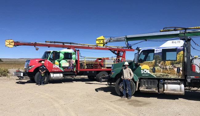 """The """"Wyoming Food Bank Swab Rig"""" is the second initiative SOS has put in motion, in their commitment to give back to the community. The first effort, the """"Wildlife Conservation Swab Rig,"""" is wrapped with a wildlife theme and SOS donates a percentage of its yearly revenue to the Wildlife Conservation Fund in Wyoming."""