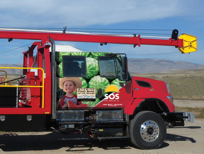 SOS Well Services, LLC has wrapped the cab of a swab rig in its fleet with themed graphics to draw attention to the cause of ending hunger in Wyoming. In addition to helping raise awareness, SOS Well Services has pledged a percentage of yearly revenue from operation of the rig to Wyoming Food Bank of the Rockies.