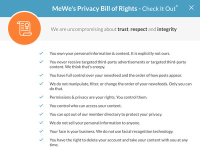 MeWe's Privacy Bill of Rights for its Members