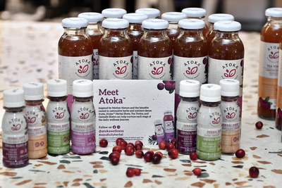 Atoka, a line of plant-based drinks, on display at the launch of the Ocean Spray Lighthouse Incubator Program, Wednesday Oct. 2, in Boston's Seaport District. (Josh Reynolds/AP Images for Ocean Spray)