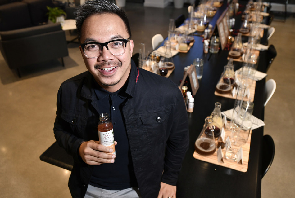 Rizal Hamdallah, Ocean Spray Global Chief Innovation Officer at the launch of its Lighthouse Incubator Program to unveil Atoka, a line of plant-based drinks,  Wednesday Oct. 2, in Boston's Seaport District. (Josh Reynolds/AP Images for Ocean Spray)