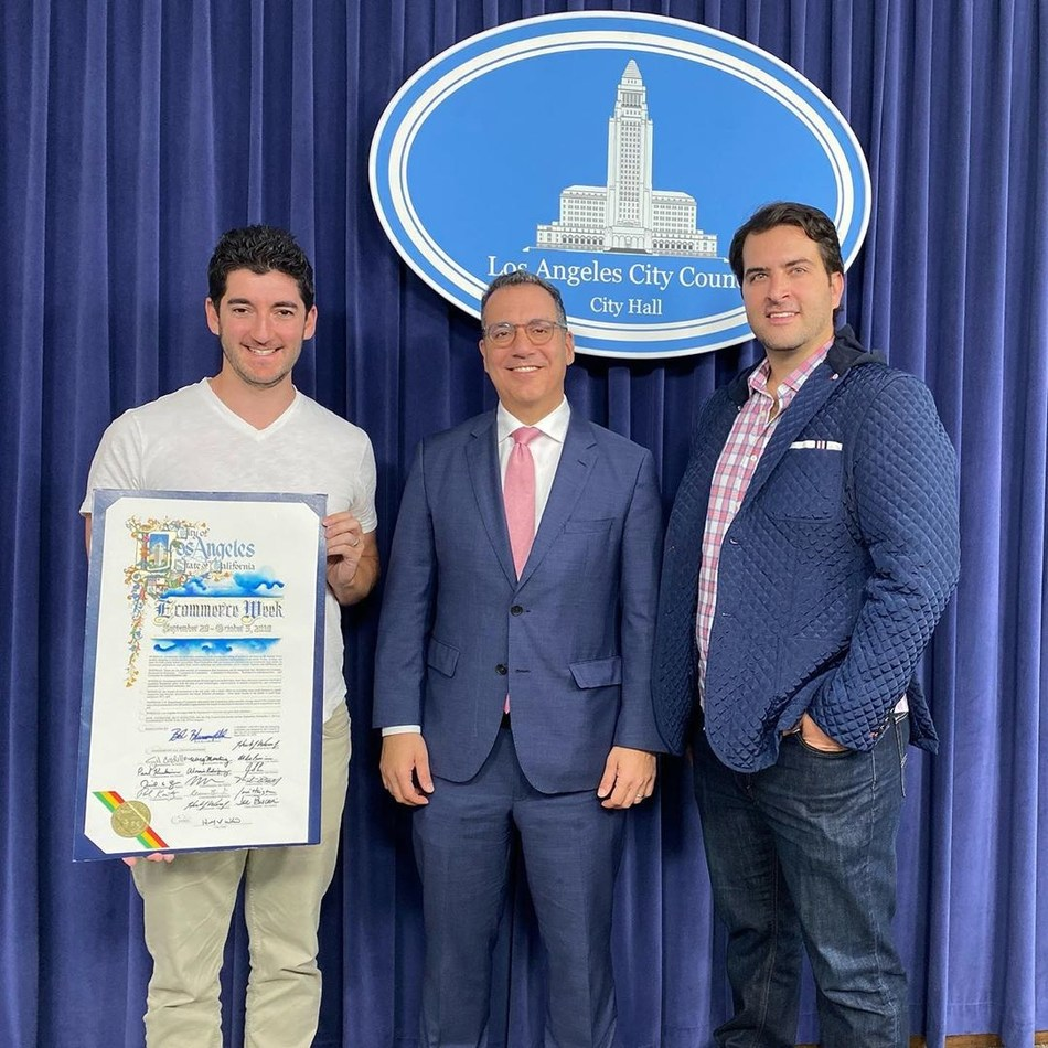 Co-founders of Hawke Media Erik Huberman and Tony Delmercado stand on the left and right, respectively, of City of Los Angeles Councilmember Bob Blumenfield at the official announcement of Los Angeles E-Commerce Week.