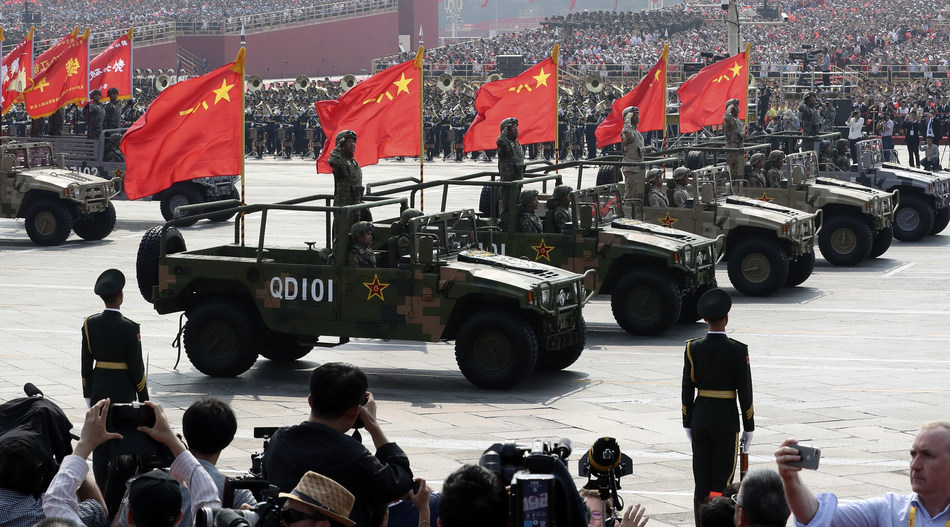 Military vehicles on Oct 1, 2019 participate in the Tian'anmen Square celebrations marking the People's Republic of China's 70th anniversary. [Photo by Feng Yongbinchinadaily.com.cn].