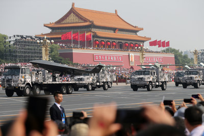 Military vehicles on Oct 1, 2019 participate in the Tian'anmen Square celebrations marking the People's Republic of China's 70th anniversary. [Photo by Wang Zhuangfeichinadaily.com.cn]