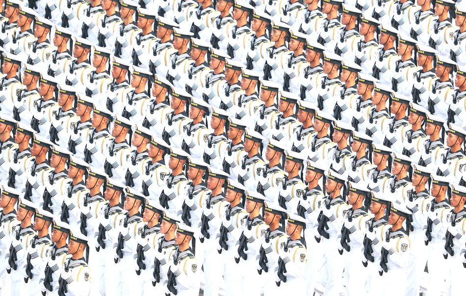 A navy formation on Oct 1, 2019 participates in the Tian'anmen Square celebrations marking the People's Republic of China's 70th anniversary. [Photo by Zou Hong chinadaily.com.cn]