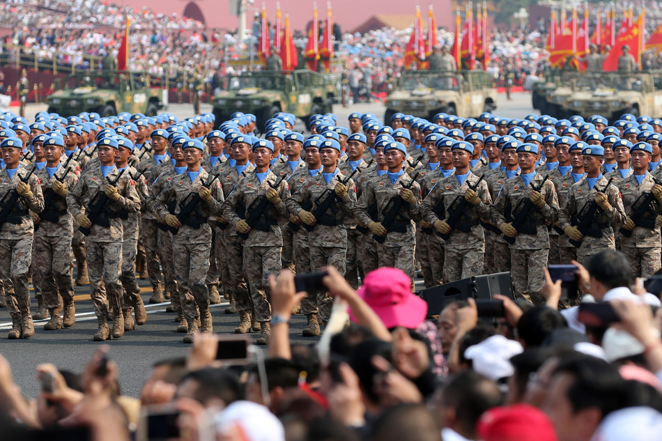 Chinese peacekeepers on Oct 1, 2019 march in the Beijing parade marking the People's Republic of China's 70th anniversary. [Photo by Wang Zhuangfeichinadaily.com.cn]