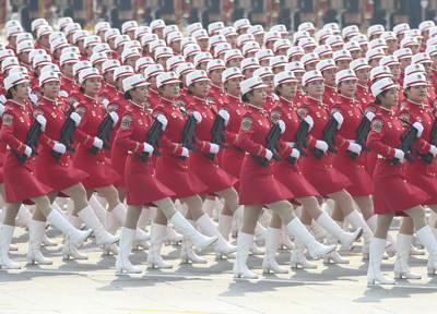 Female militia troops in Tian'anmen Square in Beijing on Oct 1, 2019 march to celebrate the People's Republic of China's 70th anniversary. [Photo by Feng Yongbinchinadaily.com.cn].