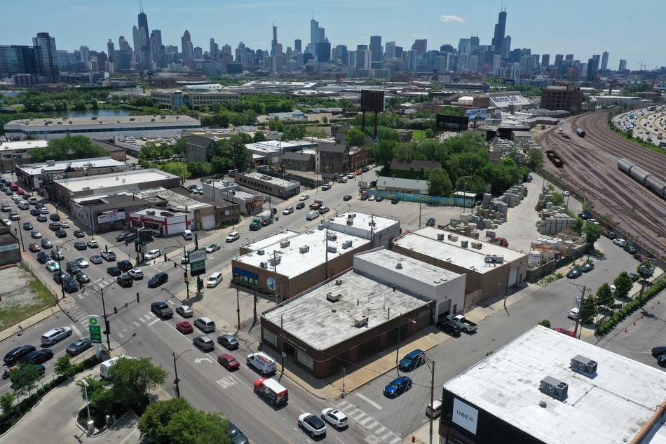 Aerial view of the Iconic Stanley's Fresh Fruit and Vegetables Grocery Store and associated real estate