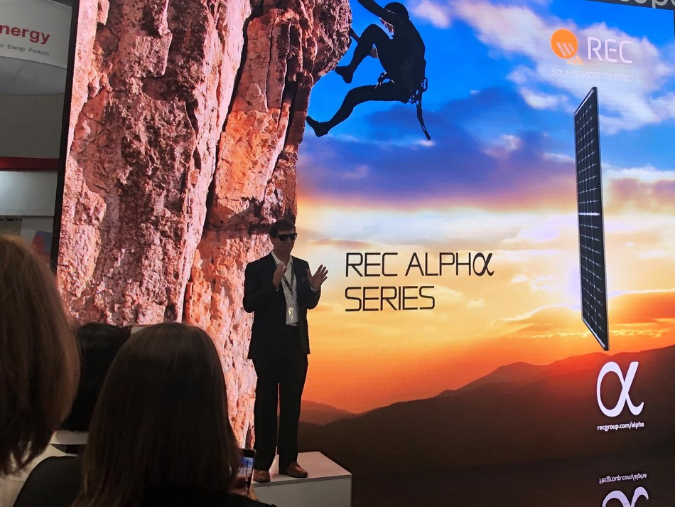 Cary Hayes, REC Group Americas president, on stage during the official U.S. launch of REC Alpha Series.