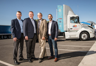 Group Photo: Frito-Lay announced Oct. 3 its Zero- and Near-Zero Emission Freight Facility Project in Modesto, Calif. Part of California Climate Investments (CCI), it will transform one of Frito-Lay's largest sites in the U.S. into an industry-leading showcase for environmentally sustainable manufacturing, warehousing and distribution. From left to right: Matt Fenton, senior site director, Frito-Lay Modesto; Mike O'Connell, vice president, supply chain, PepsiCo; Dr. Alexander Sherriffs, board member, California Air Resources Board (CARB) and San Joaquin Valley Air Pollution Control District (SJVAPCD); and Samir Sheikh, executive director, SVJAPCD.
