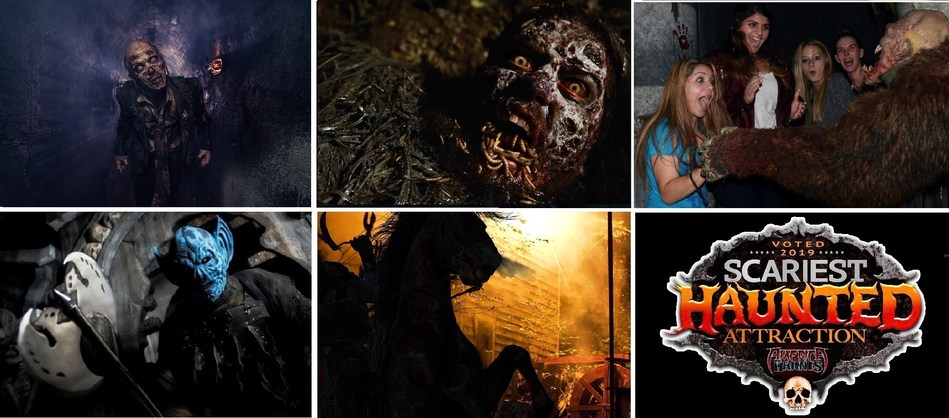 Scariest Haunts in the U.S. from left to right, House of Torment, Austin, TX; Spookywoods, High Point, NC; Erebus Haunted Attraction, Pontiac, MI; Bennet's Curse Haunted House, Baltimore, MD; Headless Horseman Hayrides, Ulster Park, NY