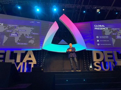 Enzo Villani, Head of International Strategy and Innovation at OKEx delivering a keynote speech at Delta Summit