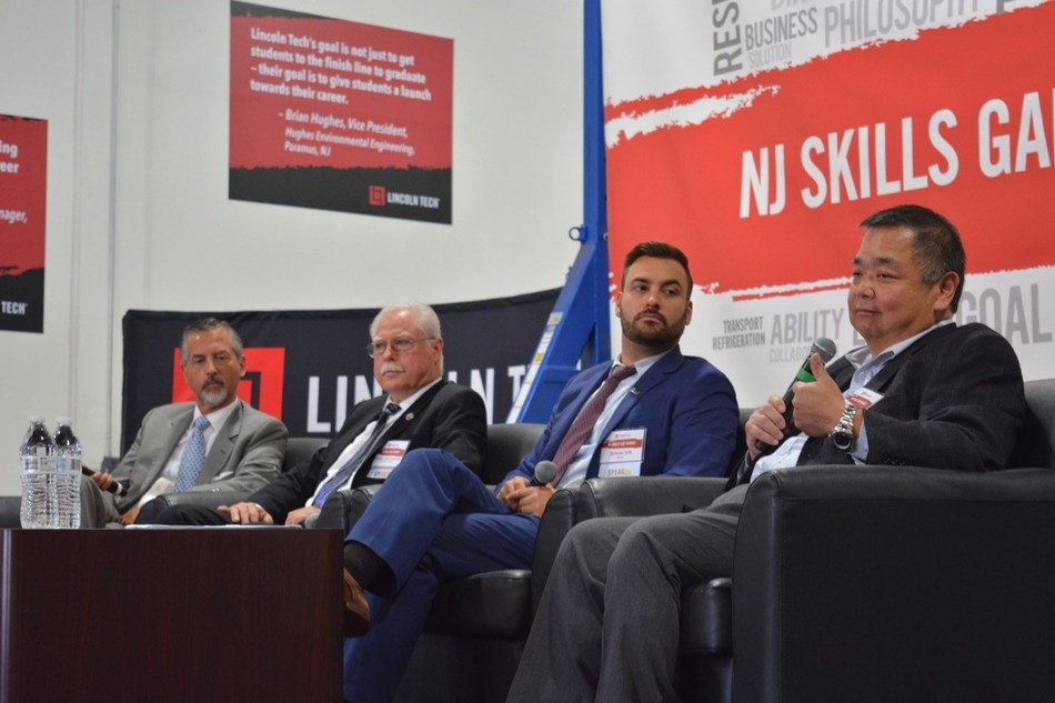 The NJ Skills Gap Summit held at Lincoln Tech's South Plainfield, NJ campus featured keynote speakers representing state government, education and industry employers. Featured speakers included (l to r):Scott Shaw, President & CEO Lincoln Tech; Robert Karabinchak, NJ State Assemblyman 18th District; Nicholas Toth, Assistant Director Office of Apprenticeship, NJ Dept of Labor & Workforce Development; Gary Uyematsu, National Director Technical Training, BMW North America