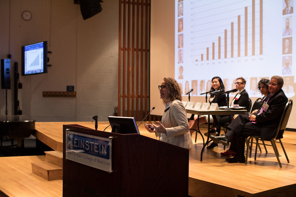 """Addiction experts, clinical leaders, community advocates and policymakers share research at the event: """"On the Front Lines of the Opioid Epidemic,"""" held at Albert Einstein College of Medicine."""