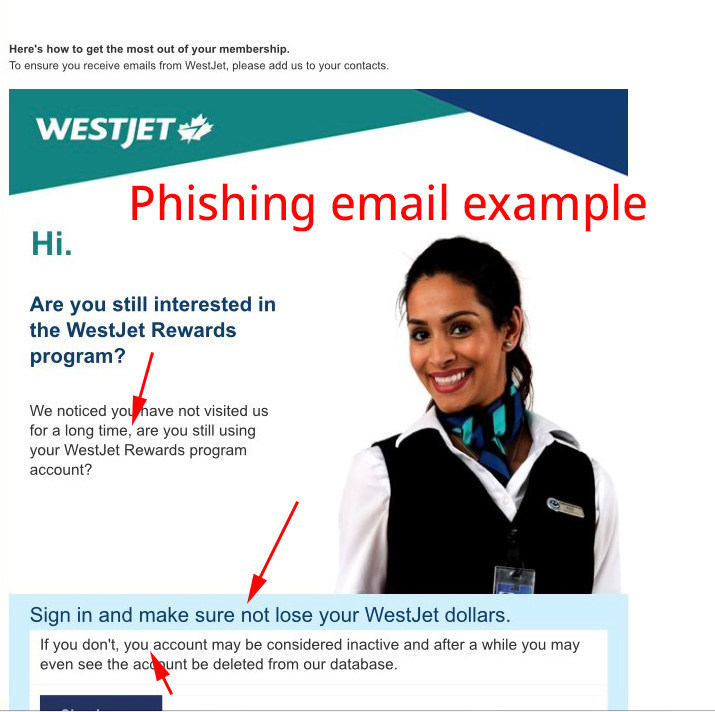Example of scam email (CNW Group/WESTJET, an Alberta Partnership)