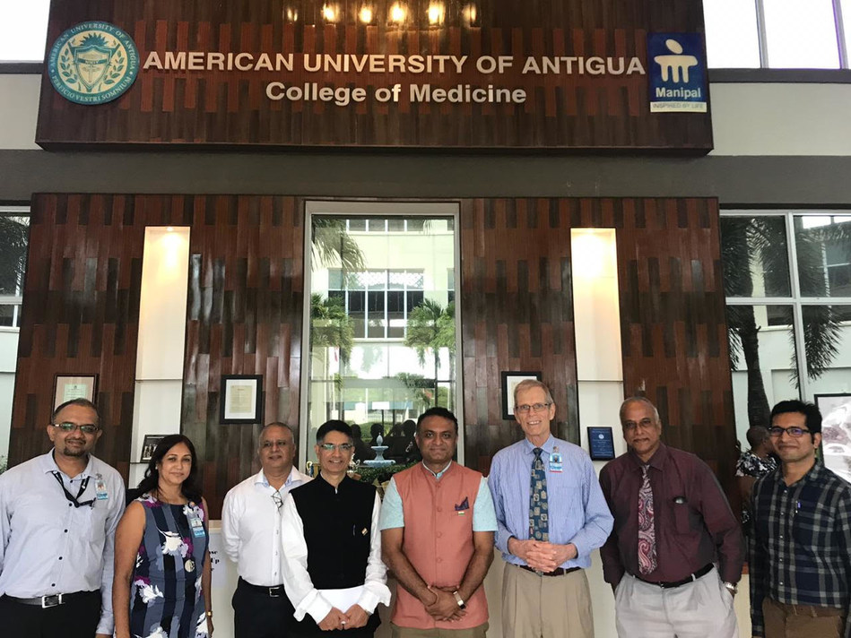 From left to right: Ashwin Krishnamurthy – AUA faculty, Sudha Kannavar – AUA faculty, Vijay Tewani – Antigua resident, Rajender Perindia – Councellor, Indian HC office, Guyana), Dr. Srinivasa – Indian High Commissioner, Guyana, Samuel LeBaron – Executive Dean, Basic Sciences, AUA, Nagaraj Mysore – AUA faculty Nikhilesh Anand – AUA faculty