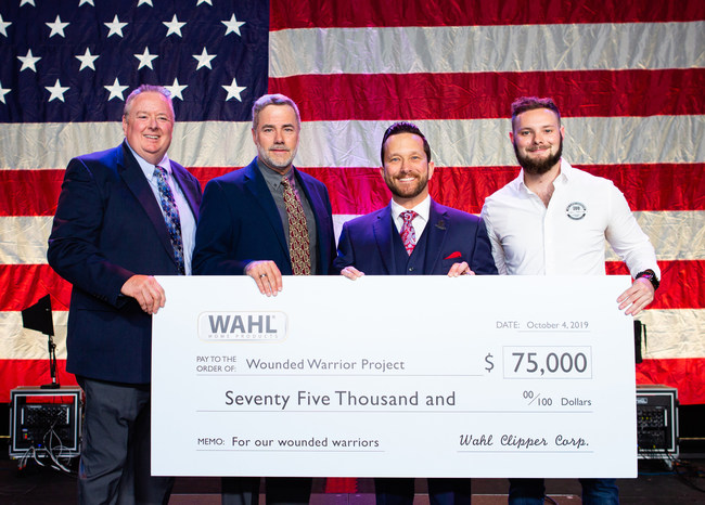 Wahl presents WWP with $75,000 donation. Pictured from left, Bruce Kramer, Wahl Senior Vice President, Steven Yde, Wahl Vice President Marketing, retired Army Staff Sgt. Jeremiah Pauley and Phil Wahl, Wahl Product Manager.