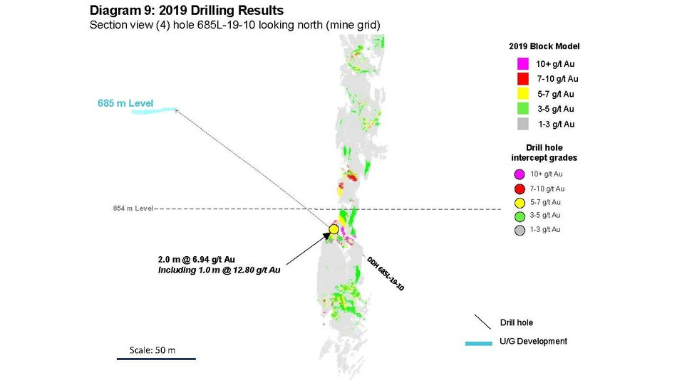 Diagram 9: 2019 Drilling Results  Section view (4) hole 685L-19-10 looking north (mine grid) (CNW Group/Rubicon Minerals Corporation)