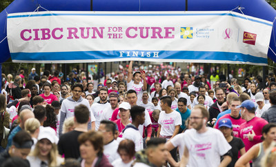 Yesterday, 85,000 Canadians in 57 communities across the country united in shared purpose to raise $17 million for the breast cancer cause at the Canadian Cancer Society CIBC Run for the Cure. Among those were 15,000 members of Team CIBC who raised an estimated $3 million. (CNW Group/CIBC)