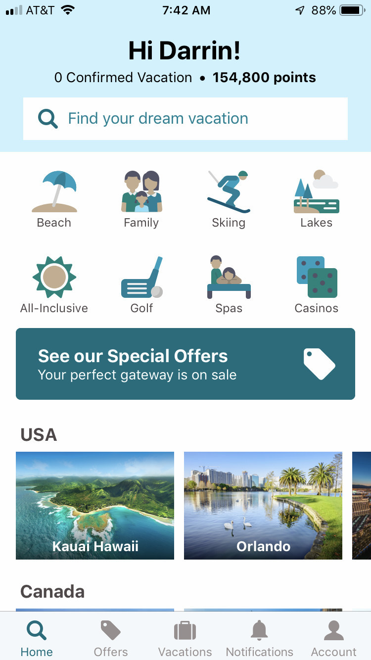 RCI's engaging new mobile app features responsive search results, a new calendar layout with optimized search functionality and a personalized dashboard based on membership type.
