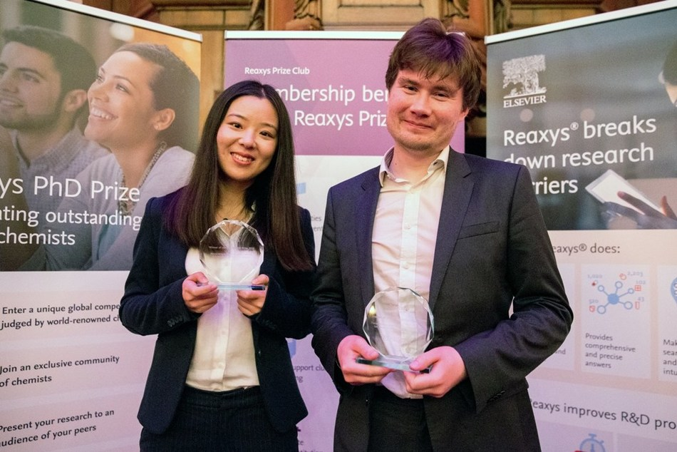 Drs. Yujia Qing and Aaron Trowbridge collected their prize in-person at this year's Reaxys PhD Prize in Amsterdam over the weekend. Missing is Mr. Michael Geeson who gave his presentation remotely.