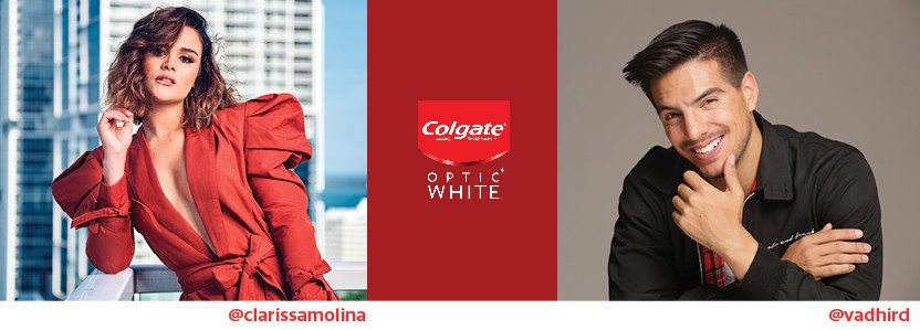 TV host Clarissa Molina and actor Vadhir Derbez join Latinx trendsetters at the Colgate® Optic White® Café to lounge and learn about the science behind a whiter smile.
