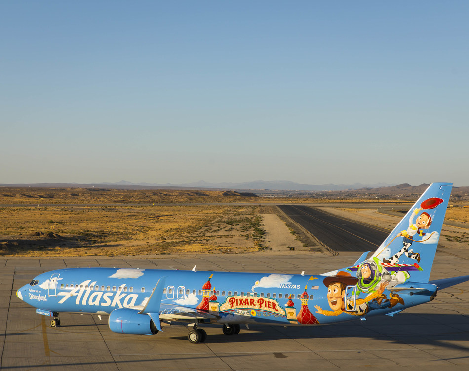 In collaboration with the Disneyland Resort, Alaska Airlines reveals its latest special-edition aircraft livery, that offers a whimsical tribute to Pixar Pier, a reimagined land at Disney California Adventure Park.