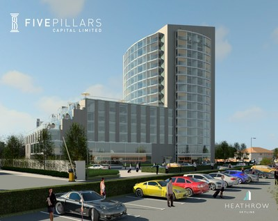 "Architectural rendering of the ""Heathrow Skyline"" development by Five Pillars Capital"