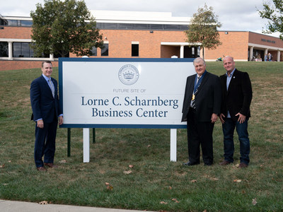 On the site of the future Lorne C. Scharnberg Business Center, Cedarville University President Dr. Thomas White, left, stands with Lorne Scharnberg and his son, Mark Scharnberg. Photo by Scott Huck