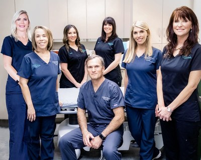 From left to right: Piper Estep, P.A., Diane McGovern, Office Manager, Lauren Walker, Coolsculpting Technician, J. Anthony Stephens, M.D., Haley Burk, Aesthetician, Brandie Fromenthal, R.N., Joan Hughes-Smith, N.P.