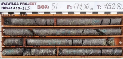 Figure 2.  Drill core photographs from the interval in A19-165 grading 18.9% zinc, 42 g/t silver, 0.5% lead, & 584 g/t indium over 7 metres from 178.4 metres. Various phases of zinc sulphides are noted by red-purple-brown hues. (CNW Group/Tinka Resources Limited)