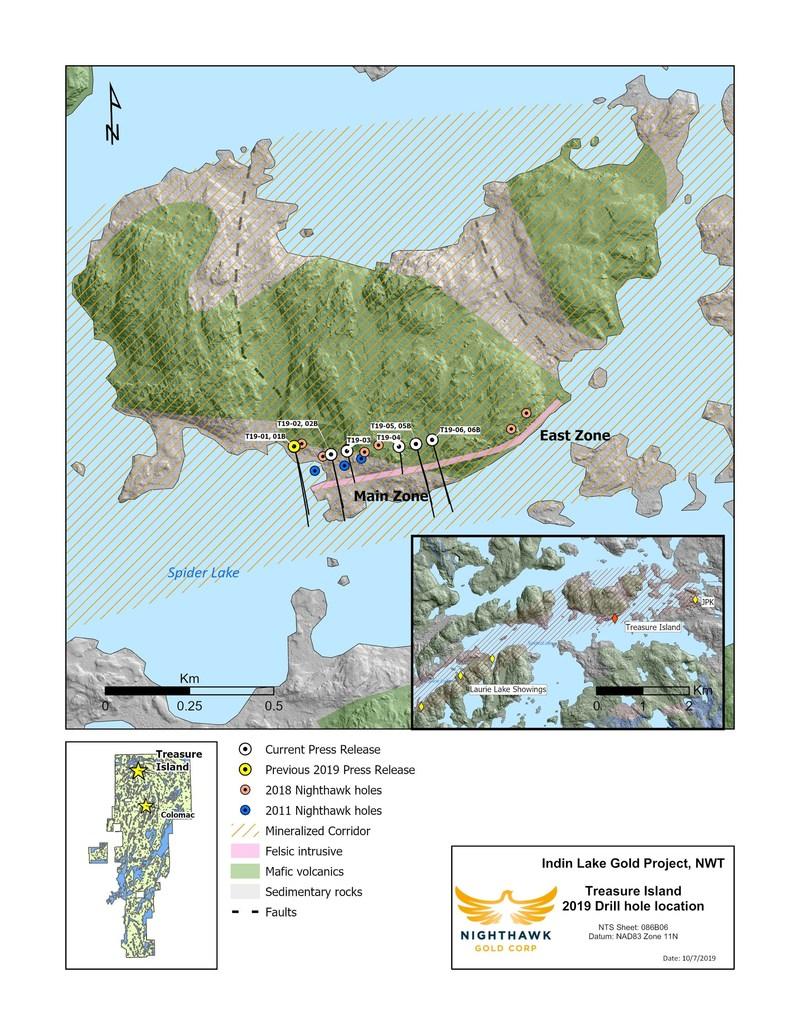 Figure 1. Plan View – Treasure Island Drillhole Locations (CNW Group/Nighthawk Gold Corp.)