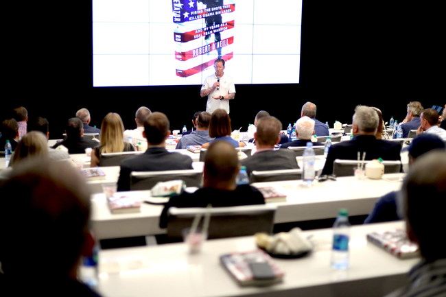 Former Navy SEAL Robert O'Neill addresses the crowd at the UFC Performance Institute in Las Vegas on October 7, 2019. O'Neill served as guest speaker at an event co-hosted by UFC and the Vegas Golden Knights to announce Miracle Flights' new program directed at helping U.S. veterans reach specialized medical care far from home.
