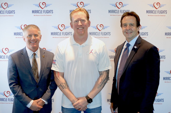 Vegas Golden Knights president Kerry Bubolz, former U.S. Navy SEAL Robert O'Neill, and Miracle Flights CEO Mark E. Brown at the UFC Performance Institute in Las Vegas on October 7, 2019, to announce Miracle Flights' expanded efforts to fly U.S. veterans for free to specialized, distant medical care
