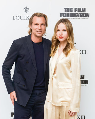 "Ludovic du Plessis and Halston Sage at the release of ""The Broken Butterfly"", directed in 1919 and restored 100 years later in 2019 by The Film Foundation and LOUIS XIII Cognac (PRNewsfoto/LOUIS XIII Cognac)"