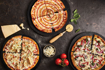 Pizza Pizza's new Gourmet Thins from Left to Right: Chicken Bruschetta, Sriracha & Honey, Pesto Amore (CNW Group/Pizza Pizza Limited)