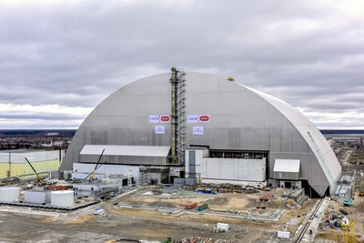 The New Safe Confinement arch now rests above the damaged reactor building, protecting it from the elements and sealing in radioactive contamination. Photo credit: European Bank for Reconstruction and Development