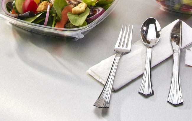Reflections® Renew™ silver-look spoons, forks and knives are made with 20% post-consumer recycled (PCR) content. The cutlery will be available for sale at grocery and retail stores nationwide under WNA's consumer brand TableluxeTM. Learn more about Reflections Renew at www.wna.biz/reflectionsrenew.