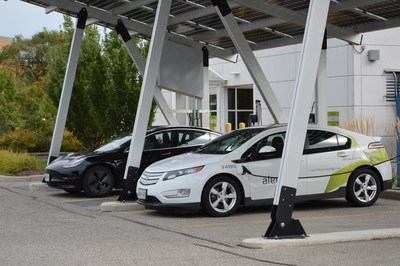 The solar car port and EV charging stations at Alectra head office in Mississauga. (CNW Group/Alectra Utilities Corporation)