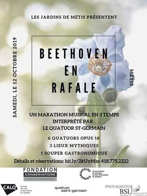 Beethoven en rafale, avec le Quatuor Saint-Germain - Samedi 12 octobre 2019 | 10 h 30, 14 h 30 et 17 h 30, Jardins de Métis, Billets sur eventbrite.ca (Groupe CNW/Conservatoire de musique et d