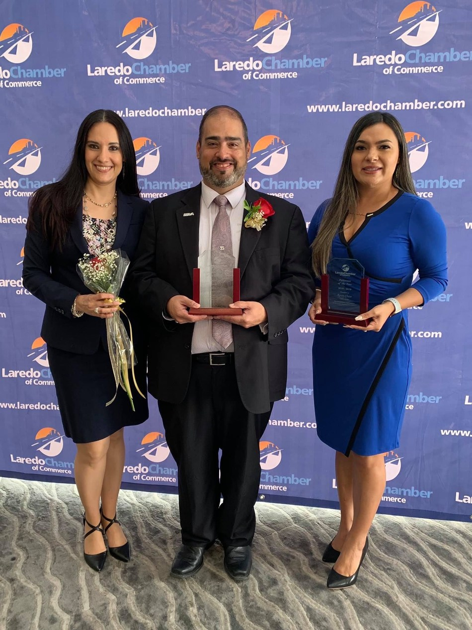 Left to Right: BBVA USA Laredo employees Rosa Cruz, David Dodier and Rossy Chase at the Laredo Chamber of Commerce Volunteer Awards Ceremony.