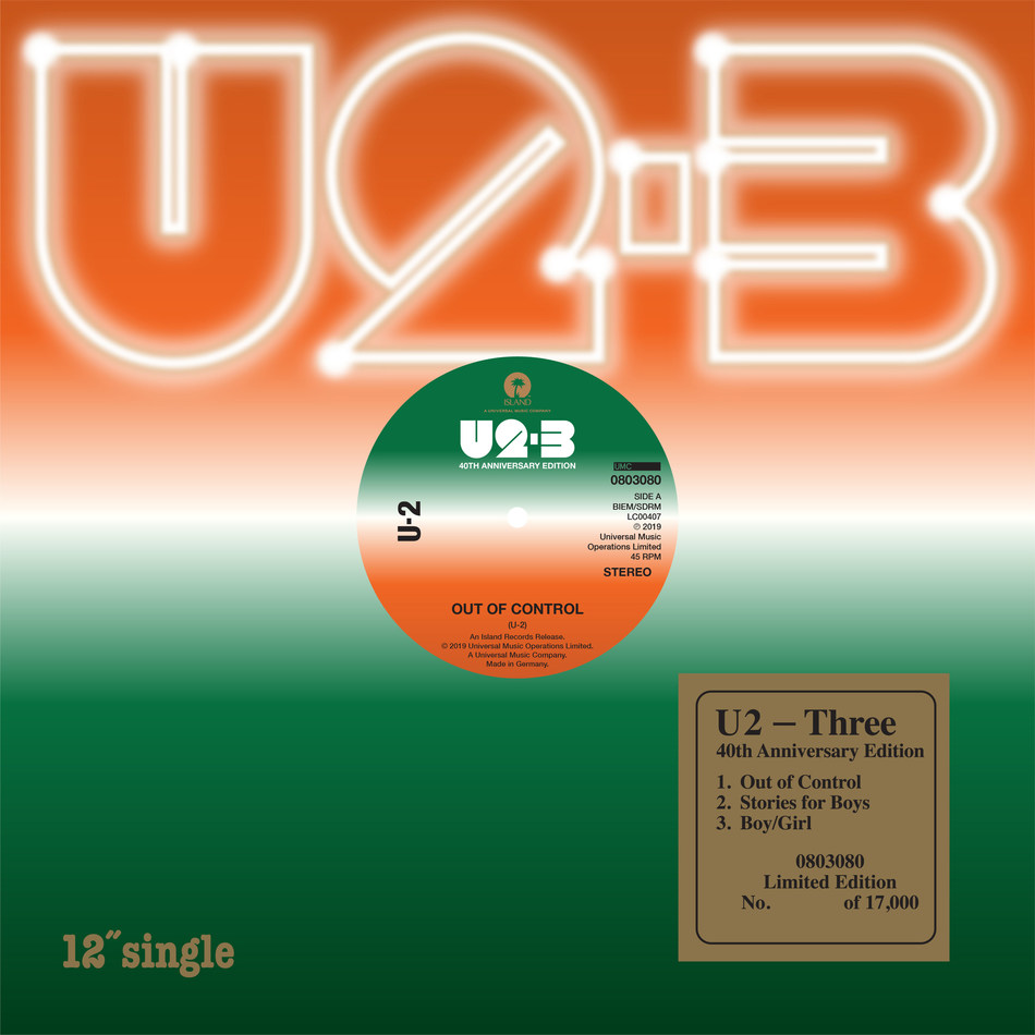 Island Records and UMC today announce a new limited edition vinyl reissue from U2 celebrating the 40th anniversary of the band's first release Three. Remastered in 2019 and pressed on 180g black vinyl, this limited-edition vinyl EP Three (1979) will be released on November 29th, 2019 via independent retailers. For details of participating record stores visit www.recordstoreday.com.