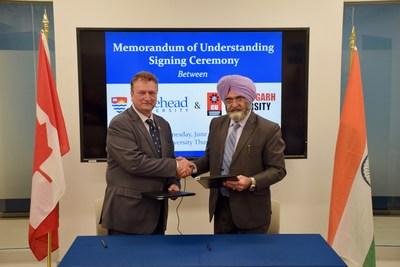 MoU signing ceremony between Canada's No 1 Under-Graduate Research University Lakehead University, Ontario, Canada & Chandigarh University