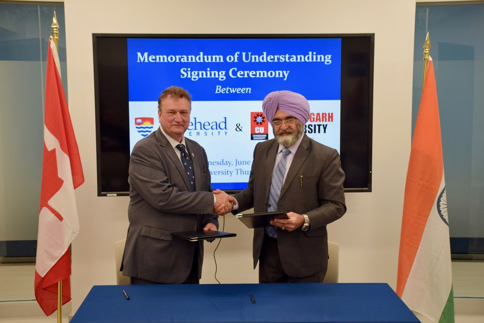 MoU signing ceremony between Canada's No 1 Under-Graduate Research University Lakehead University, Ontario, Canada & Chandigarh University